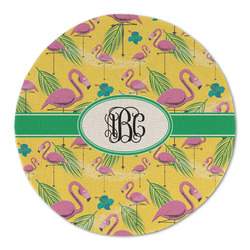 Pink Flamingo Round Linen Placemat (Personalized)