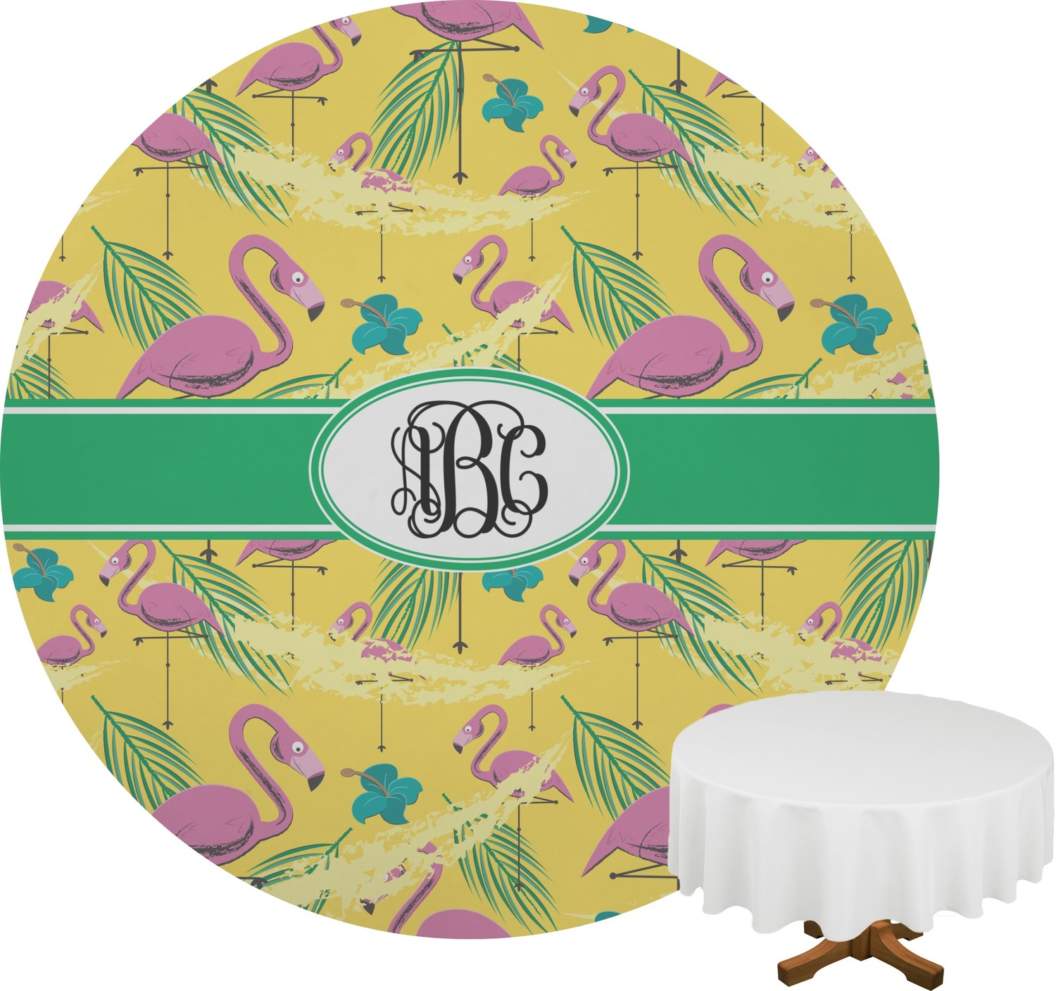 Pink Flamingo Round Tablecloth Personalized You