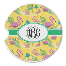 Pink Flamingo Sandstone Car Coaster - Single (Personalized)