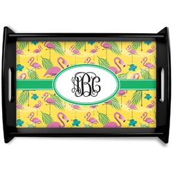 Pink Flamingo Black Wooden Tray (Personalized)
