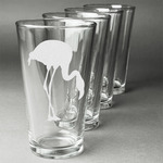 Pink Flamingo Beer Glasses (Set of 4) (Personalized)