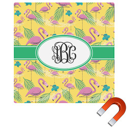 Pink Flamingo Square Car Magnet (Personalized)