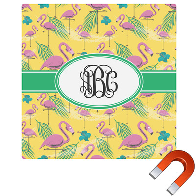 Pink Flamingo Square Car Magnet Personalized