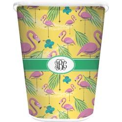 Pink Flamingo Waste Basket - Single Sided (White) (Personalized)