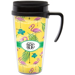 Pink Flamingo Travel Mug with Handle (Personalized)