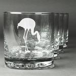 Pink Flamingo Whiskey Glasses (Set of 4) (Personalized)
