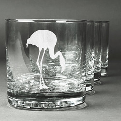 Pink Flamingo Whiskey Glasses (Set of 4) (Personalized)