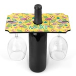 Pink Flamingo Wine Bottle & Glass Holder (Personalized)
