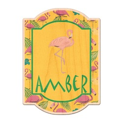 Pink Flamingo Genuine Wood Sticker (Personalized)