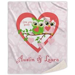 Valentine Owls Sherpa Throw Blanket (Personalized)