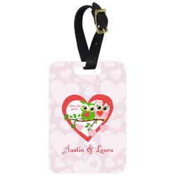 Valentine Owls Aluminum Luggage Tag (Personalized)