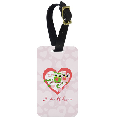 Valentine Owls Metal Luggage Tag w/ Couple's Names
