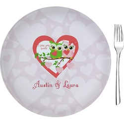 "Valentine Owls Glass Appetizer / Dessert Plates 8"" - Single or Set (Personalized)"