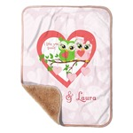 "Valentine Owls Sherpa Baby Blanket 30"" x 40"" (Personalized)"