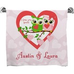 Valentine Owls Full Print Bath Towel (Personalized)