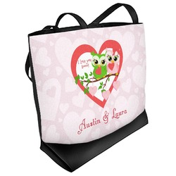 Valentine Owls Beach Tote Bag (Personalized)