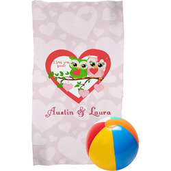 Valentine Owls Beach Towel (Personalized)