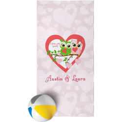 Valentine Owls Beach Towel (Personalized)
