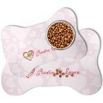 Valentine Owls Bone Shaped Dog Food Mat (Personalized)