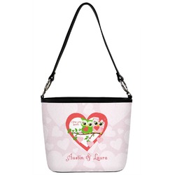 Valentine Owls Bucket Bag w/ Genuine Leather Trim (Personalized)
