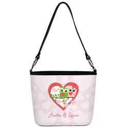 Valentine Owls Bucket Bag w/ Genuine Leather Trim (Personalized)