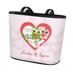 Valentine Owls Bucket Tote w/ Genuine Leather Trim (Personalized)
