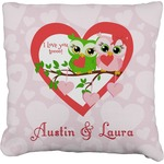 Valentine Owls Faux-Linen Throw Pillow (Personalized)