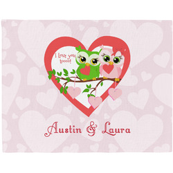 Valentine Owls Woven Fabric Placemat - Twill w/ Couple's Names
