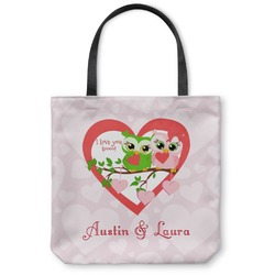 Valentine Owls Canvas Tote Bag (Personalized)