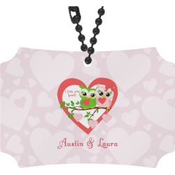 Valentine Owls Rear View Mirror Ornament (Personalized)