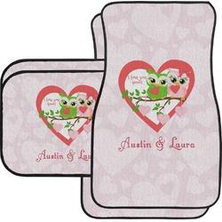 Valentine Owls Car Floor Mats Set - 2 Front & 2 Back (Personalized)