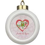 Valentine Owls Ceramic Ball Ornament (Personalized)