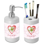 Valentine Owls Bathroom Accessories Set (Ceramic) (Personalized)