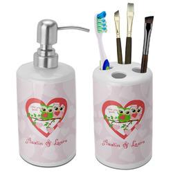 Valentine Owls Ceramic Bathroom Accessories Set (Personalized)