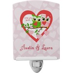 Valentine Owls Ceramic Night Light (Personalized)