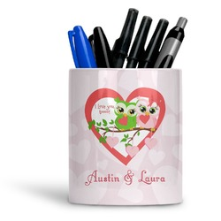 Valentine Owls Ceramic Pen Holder