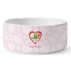 Valentine Owls Ceramic Dog Bowl (Personalized)