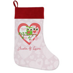 Valentine Owls Holiday Stocking w/ Couple's Names