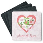 Valentine Owls 4 Square Coasters - Rubber Backed (Personalized)