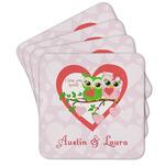 Valentine Owls Cork Coaster - Set of 4 w/ Couple's Names