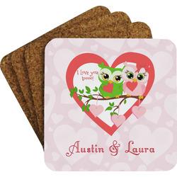Valentine Owls Coaster Set (Personalized)