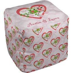 Valentine Owls Cube Pouf Ottoman (Personalized)