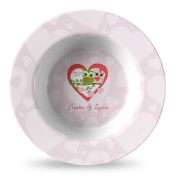 Valentine Owls Plastic Bowl - Microwave Safe - Composite Polymer (Personalized)