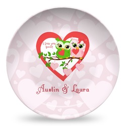 Valentine Owls Microwave Safe Plastic Plate - Composite Polymer (Personalized)