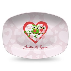 Valentine Owls Plastic Platter - Microwave & Oven Safe Composite Polymer (Personalized)