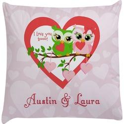 Valentine Owls Decorative Pillow Case (Personalized)