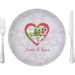 "Valentine Owls Glass Lunch / Dinner Plates 10"" - Single or Set (Personalized)"