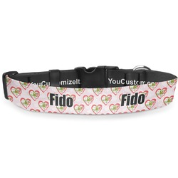 """Valentine Owls Deluxe Dog Collar - Extra Large (16"""" to 27"""") (Personalized)"""