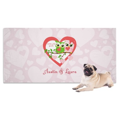 Valentine Owls Dog Towel (Personalized)