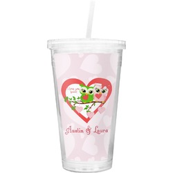 Valentine Owls Double Wall Tumbler with Straw (Personalized)